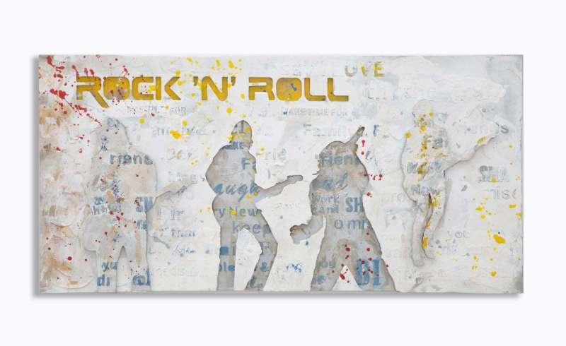 Tablou Rock&Roll 2, 120x60x3 cm, lemn de pin/ canvas, multicolor poza