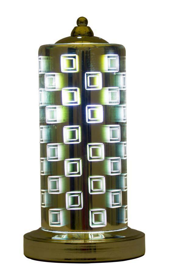 Veioză Lexington Square, 34x17x17 cm, metal/ sticla, maro poza