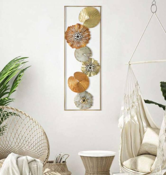Decorațiune de perete Flower, 90x31.5x3 cm, metal, multicolor
