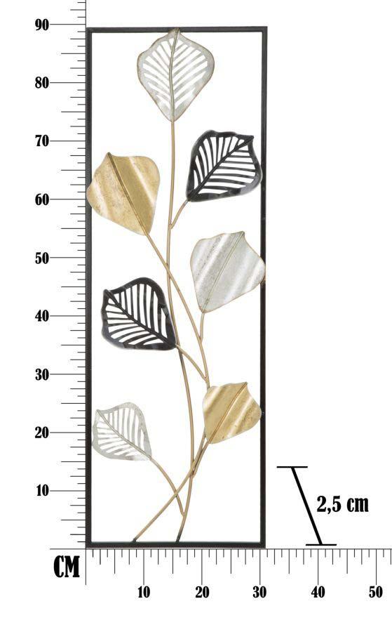 Decorațiune de perete Tex Left, 88.5x30.5x2.5 cm, metal, auriu/ argintiu/ negru