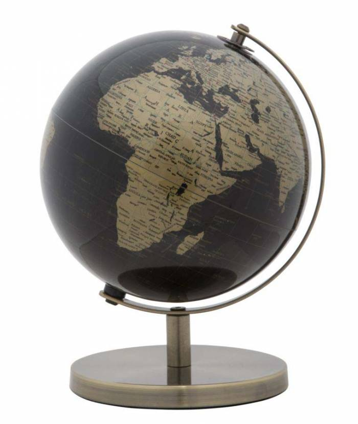 Decorațiune Globe B, 28x20x20 cm, plastic/ metal, negru/ auriu