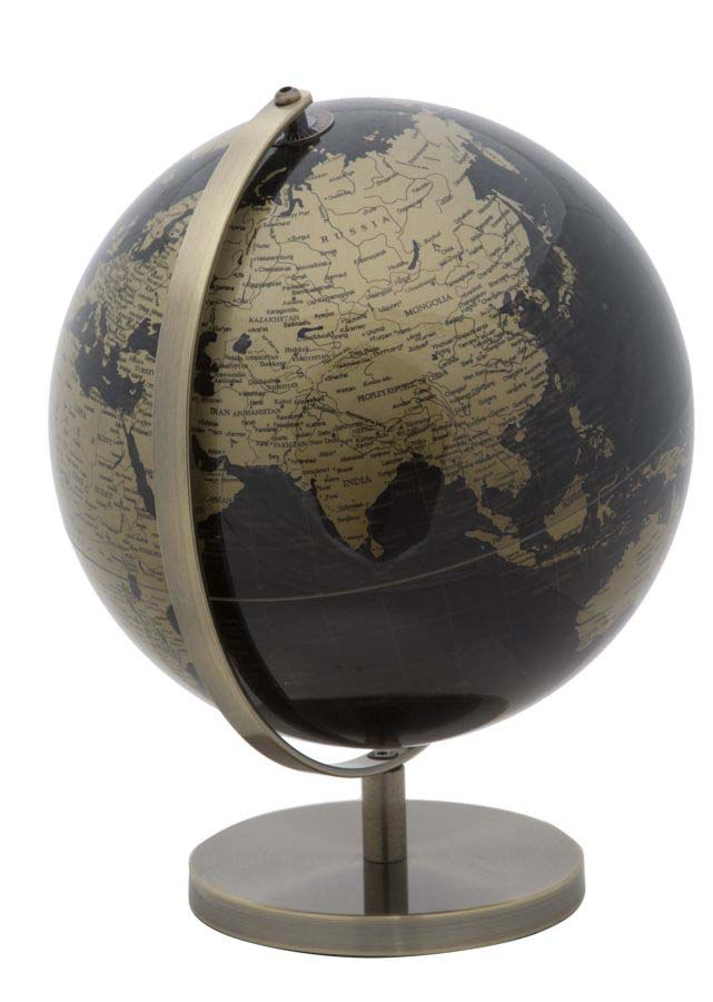 Decorațiune Globe B, 34x25x25 cm, plastic/ metal, negru/ auriu