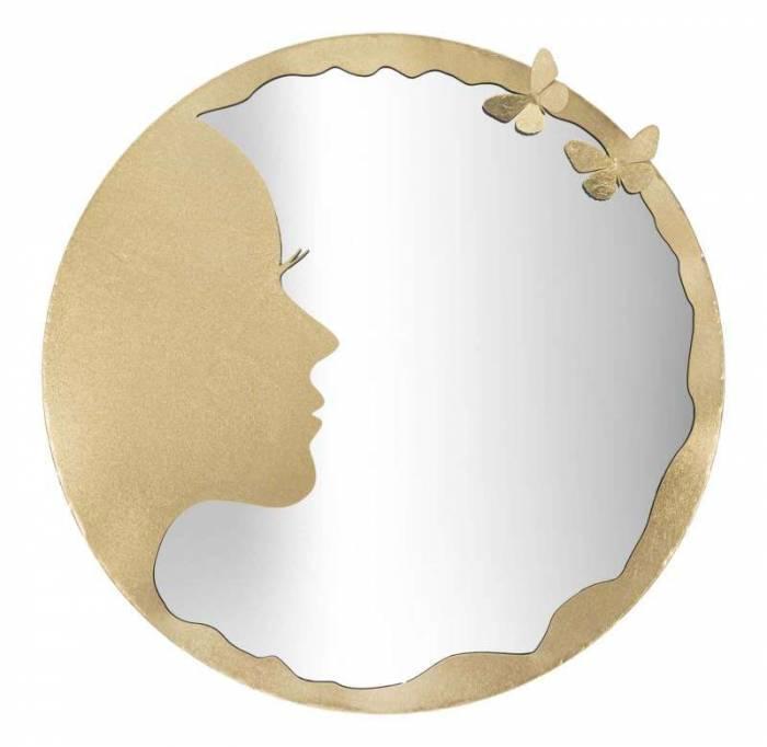 Oglindă de perete Luxy, 80x80x2.5 cm, metal/ sticla, auriu