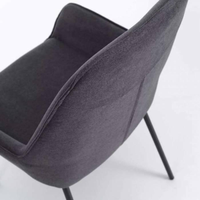 Set 4 scaune de living Montgomery, 89x53x54 cm, metal/microfibră, gri închis