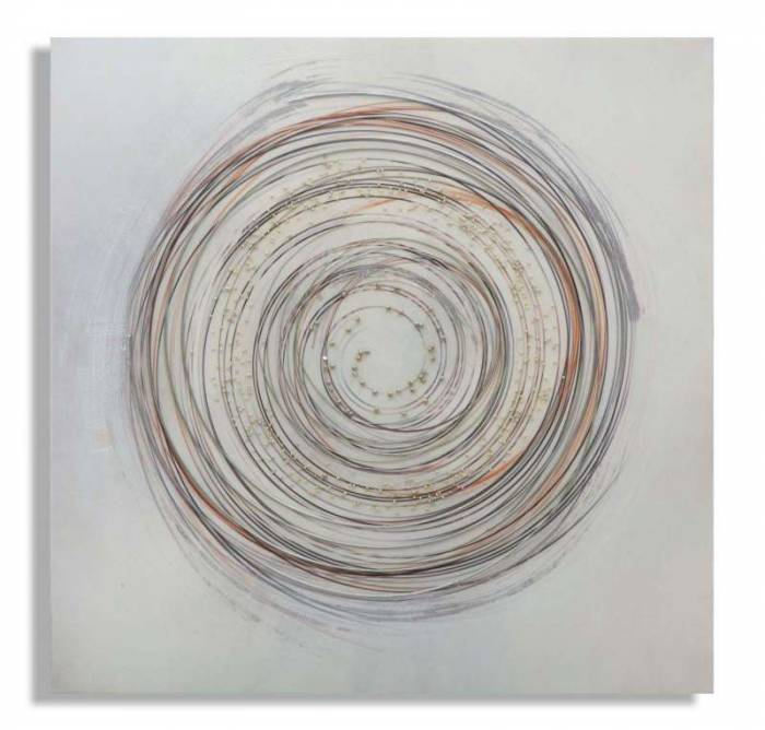 Tablou handmade Circle 2, 80x80x2,8 cm, lemn de pin/ canvas/ metal, multicolor