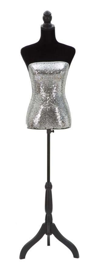 Cuier Paillettes, 165x37x23 cm, lemn de pin/ mdf/ textil, argintiu/ negru