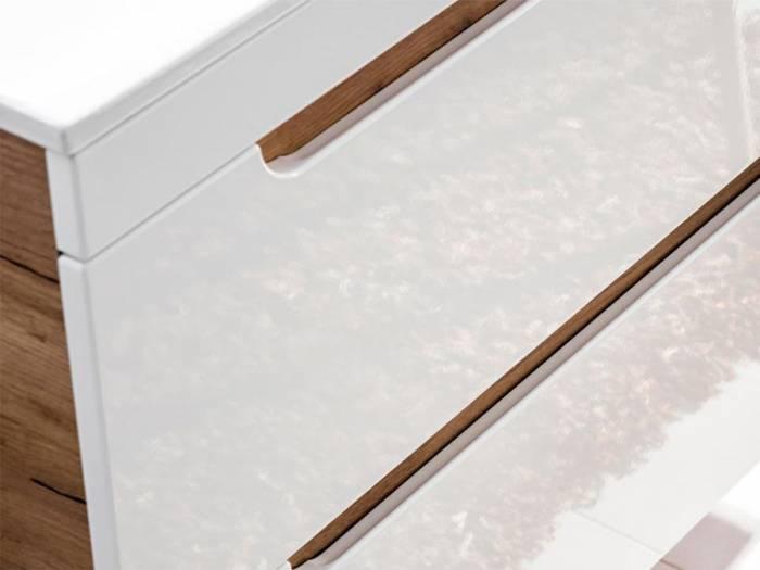 Dulap de baie cu 2 sertare, pentru lavoar Aruba, PAL/MDF, alb/maro