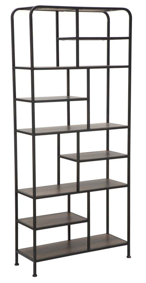 Etajeră Essential, 180x80x30 cm, metal/ mdf, negru/ maro