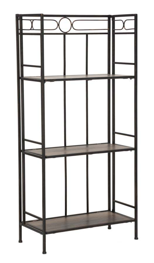 Etajeră Essential Slim, 125x60x30 cm, metal/ mdf, negru/ maro