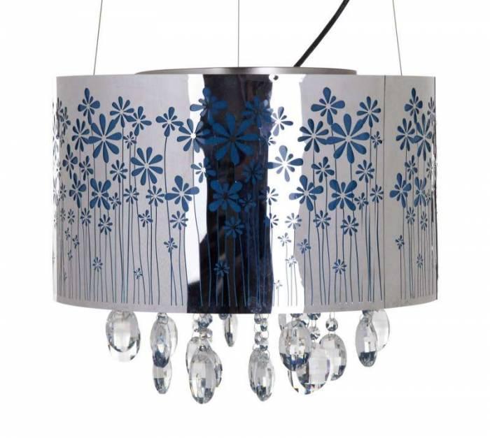 Lustră Flowers cu cristale , 30x40x40 cm, metal/ sticla/ pvc, argintiu/ albastru