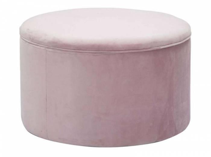 Puf Glam, 41x71x71 cm, lemn de pin/ placaj/ poliester, roz