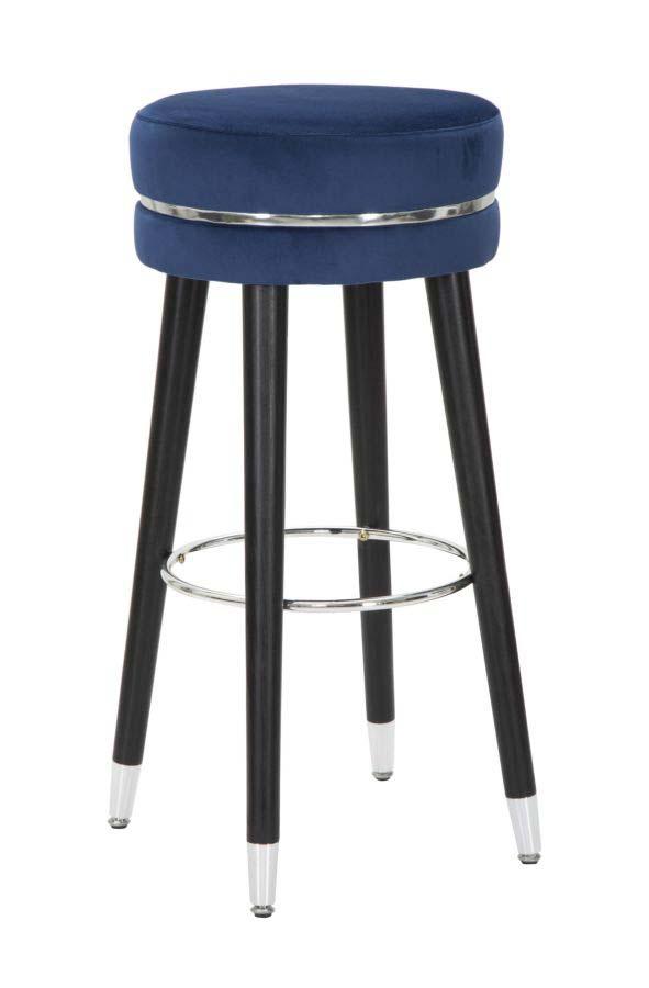 Scaun de bar tapițat Paris, 74x35x35 cm, lemn de pin/ metal/ poliester, albastru/ negru/ argintiu