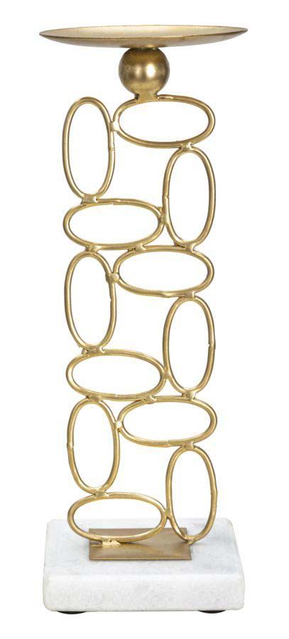 Suport metalic de lumânări Bubbles, 27x10x10 cm, metal/ marmura, auriu/ alb