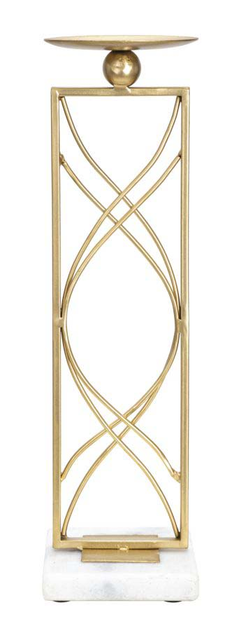 Suport metalic de lumânări Exy, 35x10x10 cm, metal/ marmura, auriu/ alb
