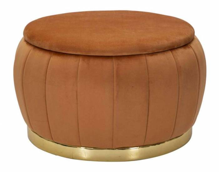 Taburet cu spațiu depozitare Paris, 43x72x72 cm, lemn de pin/ poliester, portocaliu/ auriu