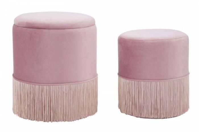 Set 2 taburete tapițate roz cu spațiu de depozitare Lines Couple