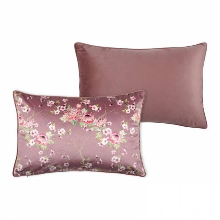 Pernă florală catifea roz închis Boudoir Vieux Rose 40x60 cm