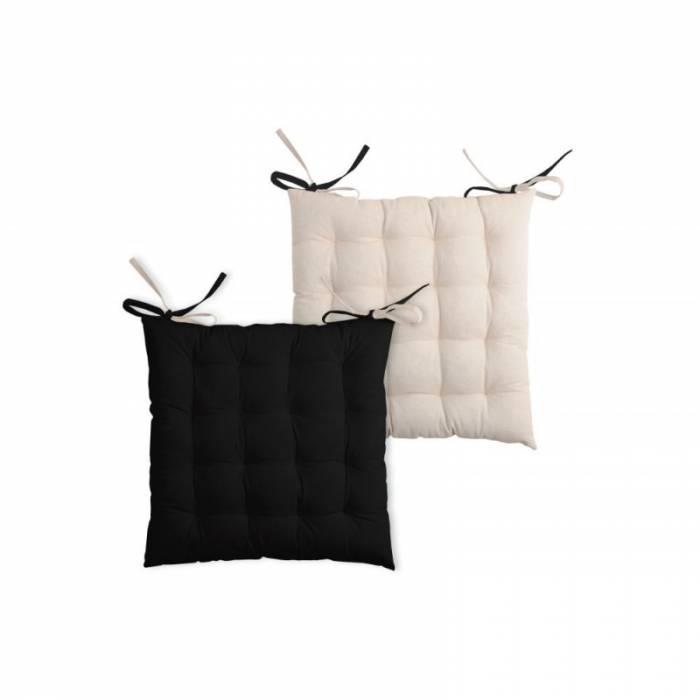 Pernă scaun neagră Duo Noir Lin 40x40 cm